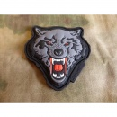 JTG  Angry Wolf Head Patch, rot-grau / JTG 3D Rubber Patch
