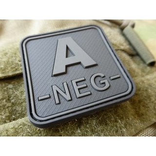 JTG  Blutgruppenpatch A NEG, blackops, 50x50mm / JTG 3D Rubber Patch / Abverkauf