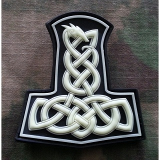 JTG - Dragon Thors Hammer Patch, gid (glow in the dark) / 3D Rubber patch