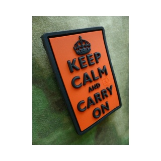 JTG - Keep Calm and Carry on - Patch, orange / 3D Rubber patch