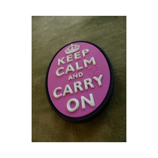 JTG - Keep Calm and Carry on - Oval Patch, pink / 3D Rubber patch