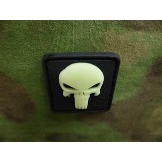 JTG - Punisher Patch, gid (glow in the dark) / 3D Rubber patch