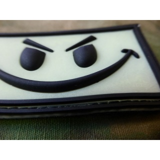 JTG - Evil Smiley Patch, blackghost-gid (glow in the dark) / 3D Rubber patch