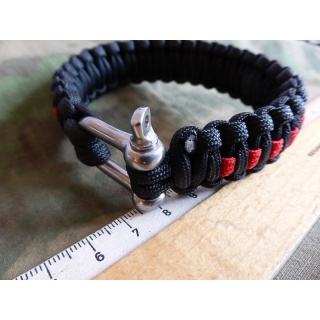 JTG Paracord Armband - Thin Red Line -  L / 22,5cm