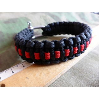 JTG Paracord Armband - Thin Red Line -  XL / 25cm