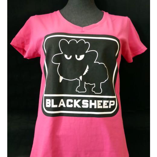 JTG - Little BlackSheep Lady T-Shirt, V-Neck, fuchsia