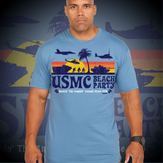 7.62 Design - USMC Beach Party - T-Shirt, Sky Blue