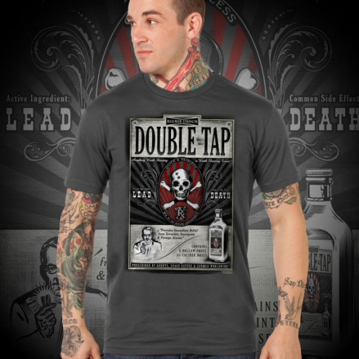 7.62 Design - Double Tap - T-Shirt, Charcoal