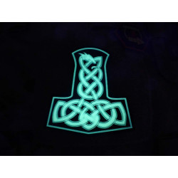 JTG Dragon Thors Hammer Patch, gid (glow in the dark) / 3D Rubber patch