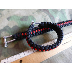 JTG Paracord Armband - Thin Red Line -  L / 22,5cm