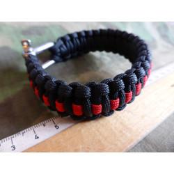 JTG Paracord Armband - Thin Red Line -  XXL / 27,5cm