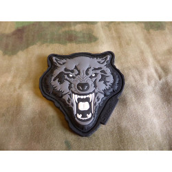 JTG Angry Wolf Head Patch, grau / JTG 3D Rubber Patch