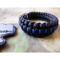 JTG Paracord Armband - Thin Blue Line - mit Bent Buckle...