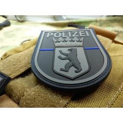 JTG Ärmelabzeichen  Polizei Berlin, blackops, Thin Blue Line, special edition / JTG 3D Rubber Patch