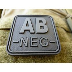 JTG  Blutgruppenpatch AB NEG, blackops, 50x50mm / JTG 3D Rubber Patch / Abverkauf