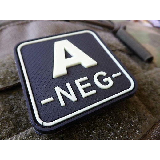 JTG  Blutgruppenpatch A NEG, gid (glow in the dark), 50x50mm / JTG 3D Rubber Patch / Abverkauf