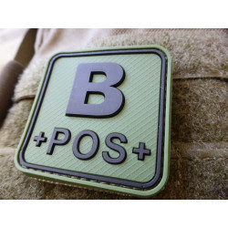 JTG  BloodType patch B POS, forest, 50x50mm / JTG 3D Rubber Patch / CloseOut