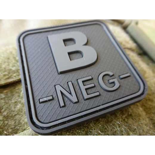 JTG  Blutgruppenpatch B NEG, blackops, 50x50mm / JTG 3D Rubber Patch / Abverkauf