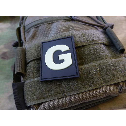 JTG  G Letter Identification patch, gid (glow in the dark) / JTG 3D Rubber Patch / CloseOut