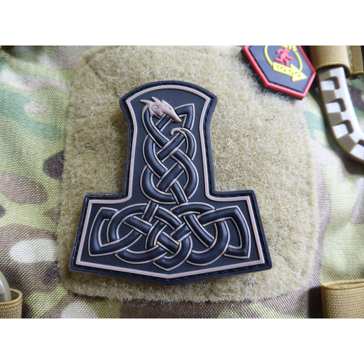 JTG Dragon Thors Hammer Patch, tan  / JTG 3D Rubber Patch