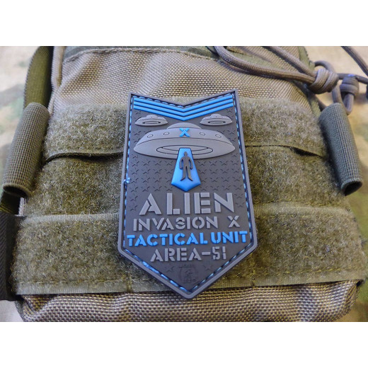 JTG  ALIEN INVASION X-Files, Tactical Unit Patch, AREA-51, blue / JTG 3D Rubber Patch