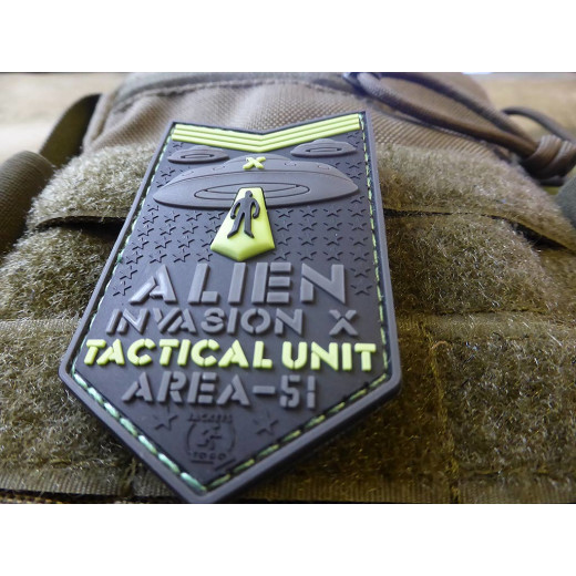 JTG  ALIEN INVASION X-Files, Tactical Unit Patch, AREA-51, naval-gid / JTG 3D Rubber Patch
