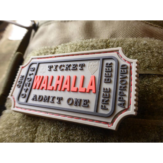 JTG WALHALLA TICKET - Odin approved Patch, grey / JTG 3D Rubber Patch