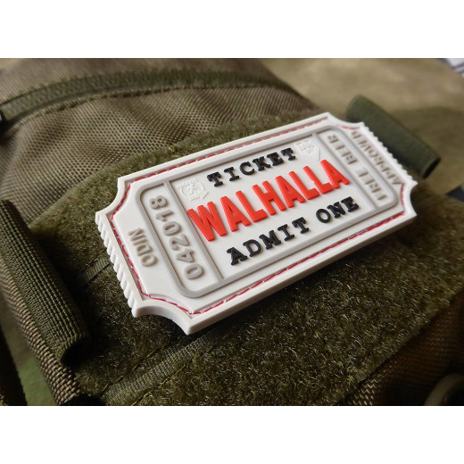 JTG WALHALLA TICKET - Odin approved Patch, white / JTG 3D Rubber Patch
