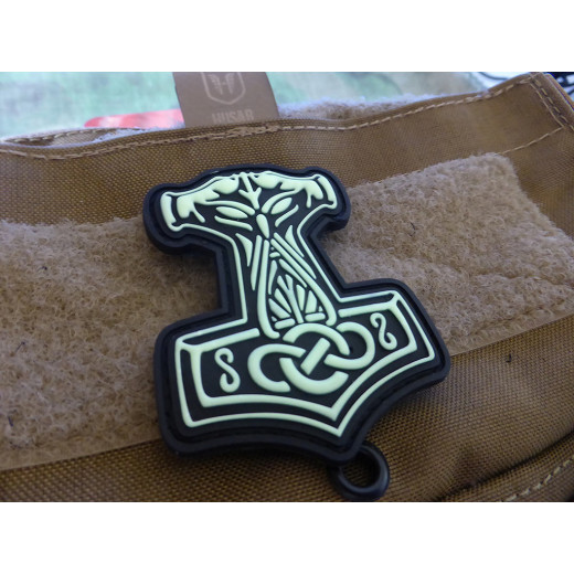 JTG Thors Hammer Mjölnir Patch, gid  / JTG 3D Rubber Patch