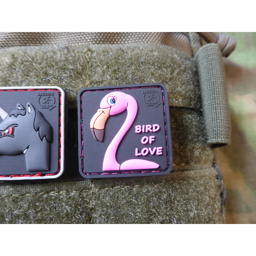 JTG Flavour FLAMINGO Patch Bird of Love, strawberry aroma, delicately scented, limited edition / JTG 3D Rubber Patch