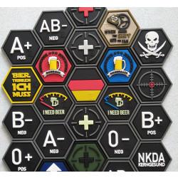 JTG  Blutgruppen Patch A Neg, Hexagon Patch, swat  / JTG 3D Rubber Patch, HexPatch