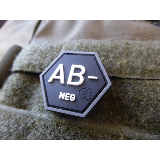 JTG  Blutgruppen Patch AB Neg, Hexagon Patch, swat  / JTG 3D Rubber Patch, HexPatch