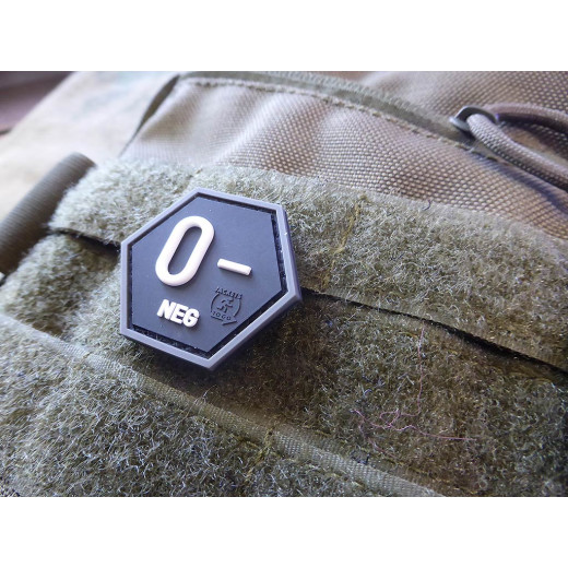 JTG  Blutgruppen Patch 0 Neg, Hexagon Patch, swat  / JTG 3D Rubber Patch, HexPatch