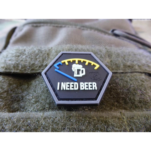 JTG  I NEED BEER, Bierbrauerspezial, Hexagon Patch, gid  / JTG 3D Rubber Patch, HexPatch