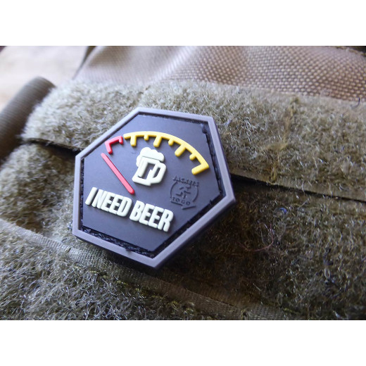 JTG  I NEED BEER, Bierdiebespezial, Hexagon Patch, gid  / JTG 3D Rubber Patch, HexPatch