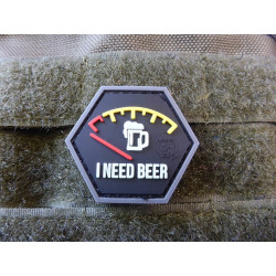 JTG  I NEED BEER, Bierdiebespezial, Hexagon Patch, gid  / JTG 3D Rubber Patch, HexPatch