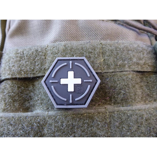 JTG  Tactical Medic Red Cross, Hexagon Patch, swat  / JTG 3D Rubber Patch, HexPatch