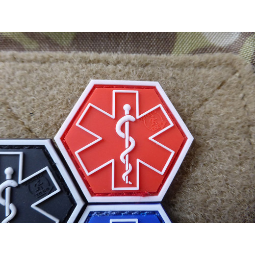 JTG PARAMEDIC, rot Hexagon Patch  / JTG 3D Rubber Patch, HexPatch