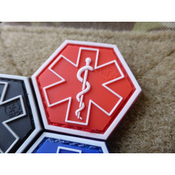 JTG PARAMEDIC, rot Hexagon Patch  / JTG 3D Rubber Patch,...