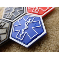 JTG PARAMEDIC, blau Hexagon Patch  / JTG 3D Rubber Patch,...
