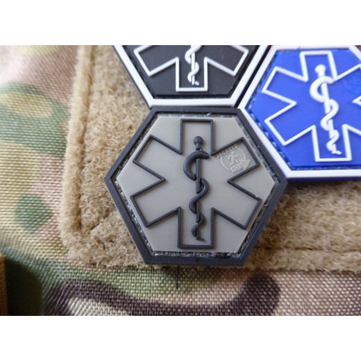 JTG PARAMEDIC, ranger-green Hexagon Patch  / JTG 3D Rubber Patch, HexPatch