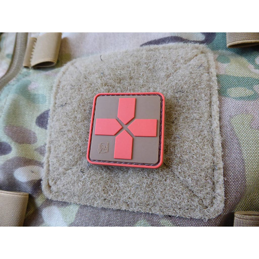 JTG RedCross Medic Patch, 40mm, coyote brown red / JTG 3D Rubber Patch