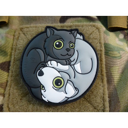 JTG Black Cat - White Dog Yin & Yan Patch, fullcolor /...