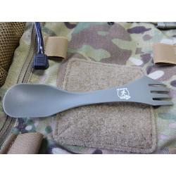 5er Set JTG ultraleichter Outdoorlöffel mit Gabel und Messerfunktion, steingrau oliv