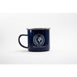 WOC Emaille Tasse 350ml mit WOC World-Of-Conflict Logo, blau