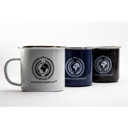 WOC Emaille Tasse 350ml mit WOC World-Of-Conflict Logo, schwarz