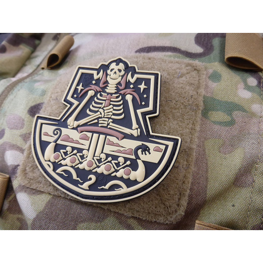 JTG Viking GhostShip Skull Patch, desert / JTG 3D Rubber Patch