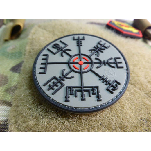 JTG VEGVISIR VIKING COMPASS Patch, steingrau olive / JTG 3D Rubber Patch