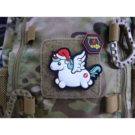 JTG CHRISTMAS UNICORN / MERRY KISSMYASS  Patch, fullcolor / JTG 3D Rubber Patch