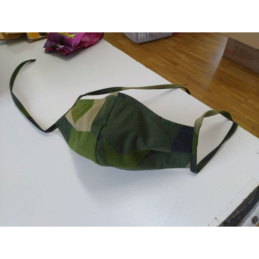 Mouth-nose mask, reusable, three layers, orig. swedish camo